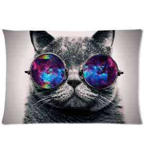 <font><b>Hipster</b></font> Cat Pillowcase Pillow Cases Cushion Case covers Cover Size 16x16 18x18 20x20 16x24 20x26 20x30 Inches