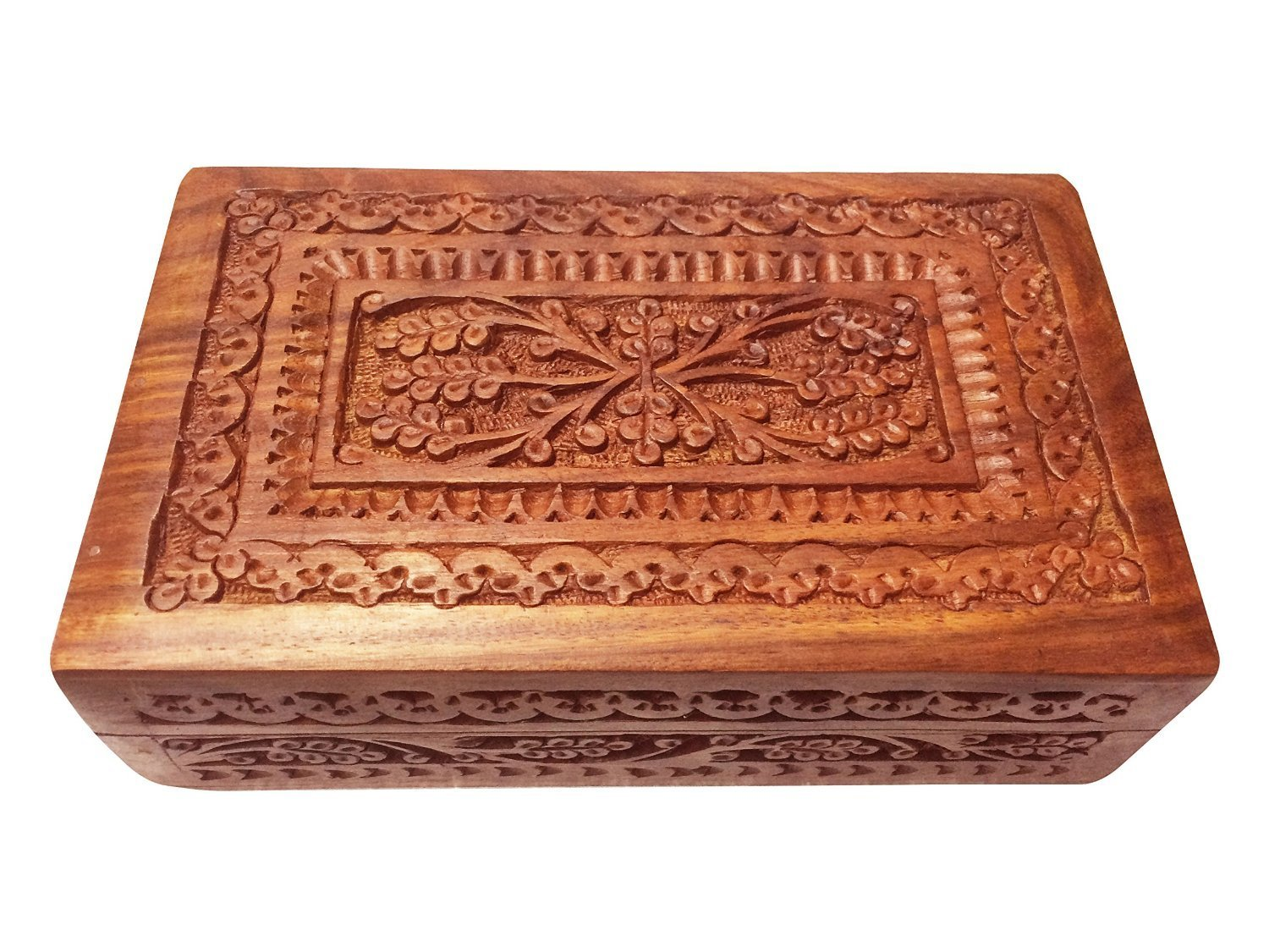 Valentine Day Special Present, Wooden Carving Box, Storage box, Vintage Box, Wooden Keepsake Jewelry Box, Jewelry Trinket Box, Brown Color Size 7 X 5 Inch