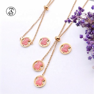 Fashion Earring Stone Stainless Steel Set Jewelry Ladies Fashion Necklace