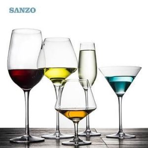 SANZO Blue Wine Glass Uk Handmade Set Tipsy