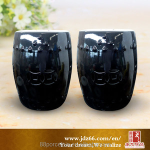 Modern design good quality glazed chinese black ceramic indian stool for garden decor