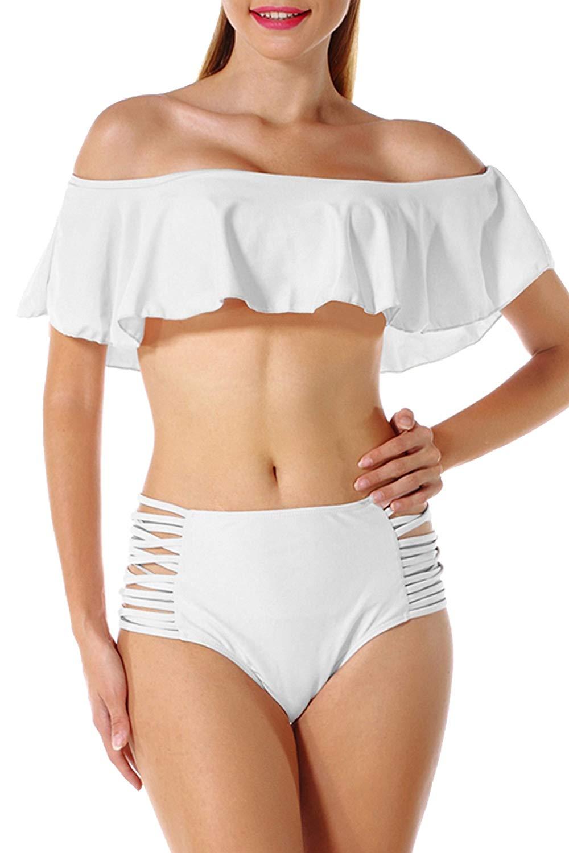 Women Sexy Off Shoulder Ruffle Swimsuit Two Piece High Waisted Bikini Set