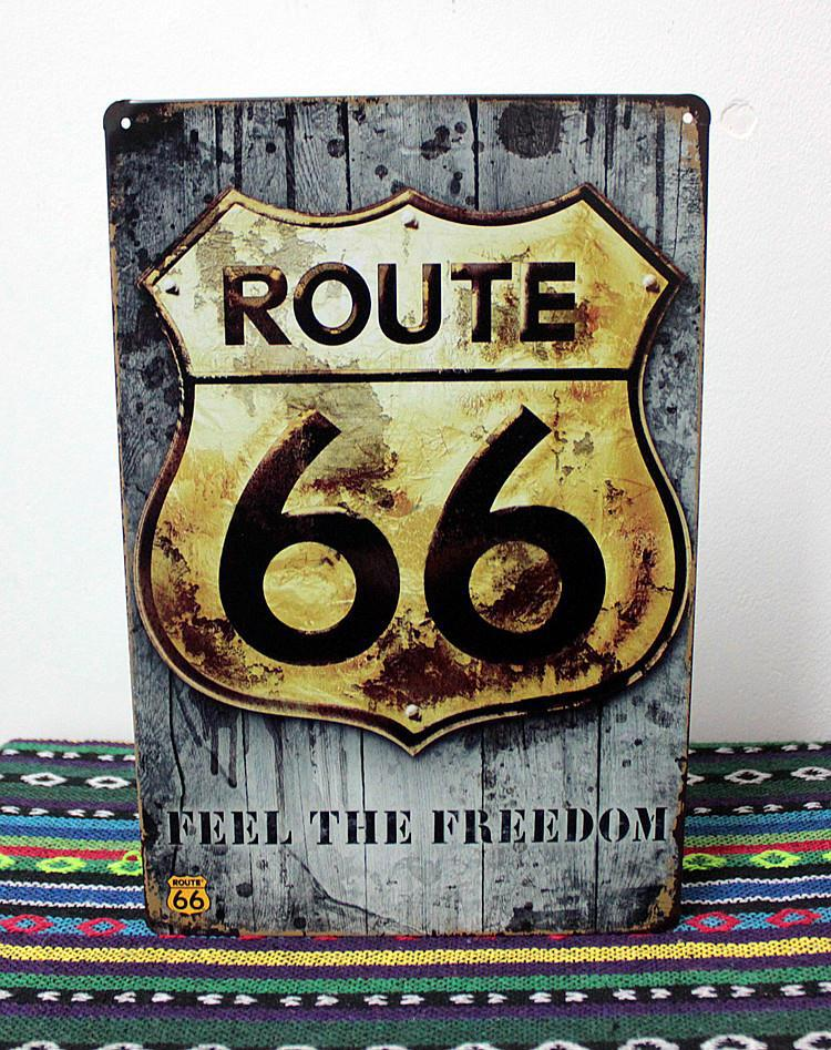 Ua 0320 Feel The Freedom Route 66 Metal Tin Signs About