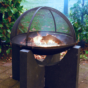 Cast Iron Fire Bowl Concrete Base Wood Burning Outdoor Fireplace