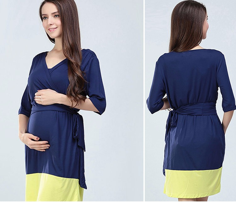 Maternity Summer Outlet Dress Hit Color Atheleisure Nursing Clothing Ladies Hide Breastfeeding Opening Skirts