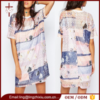 Women t shirt dress geometric pattern printed lace ladies t-shirt dresses