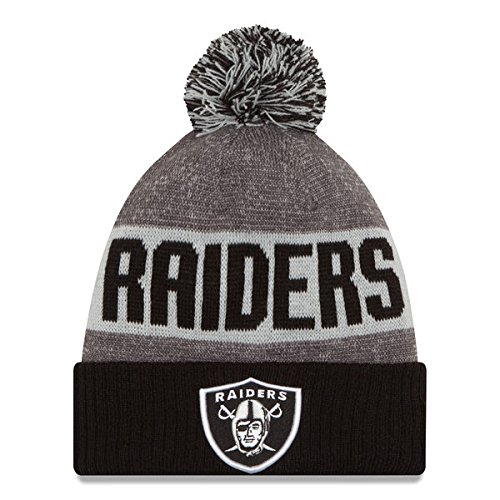 New Era Knit Oakland Raiders Silver On Field Sideline Sport Knit Winter  Stocking Beanie Pom Hat a3c91827a