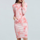 Casual Women Autumn Striped Dress Hooded Wrist Sleeve Clothing Knee Length Tie Dye Straight Brief Dresses STb-0840