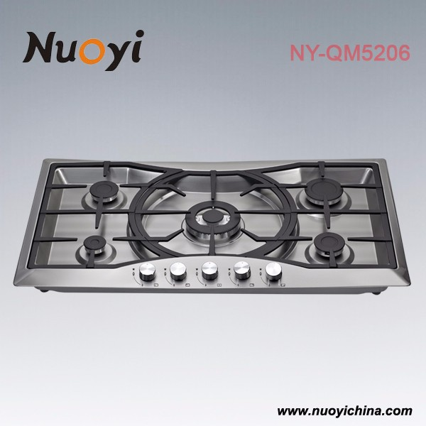 5 burner cast iron pan support gas stove for cooking