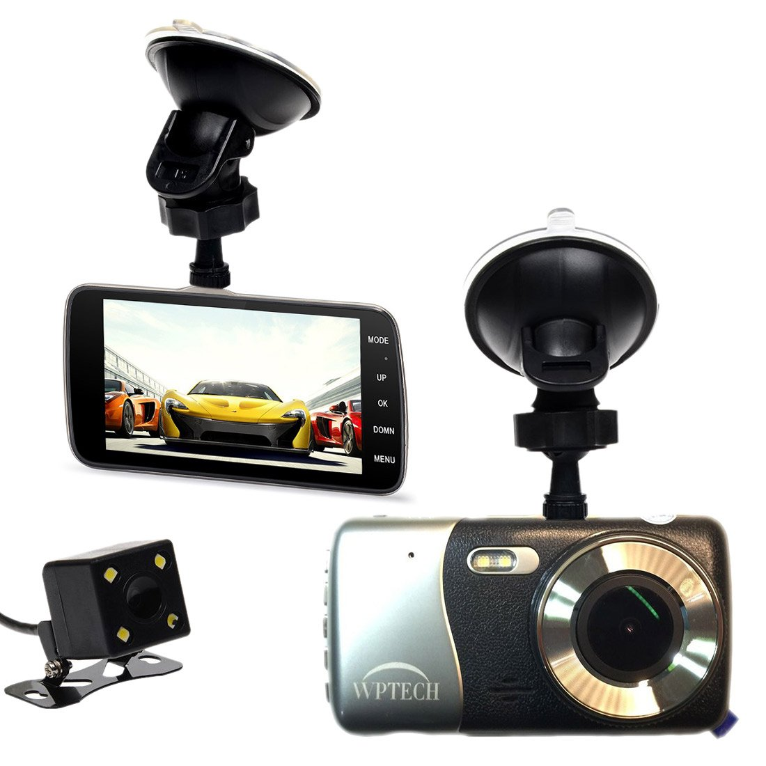 """WPTECH X600 4"""" IPS Screen FHD 1080P Car Dash Cam, F2.0 Big Eye Car Camcorder Front and Rear Camera DVR, Slim Alloy Car Black Box, Wide Angle 152 degree, Night Vision, LDWS, FCWS Functions"""