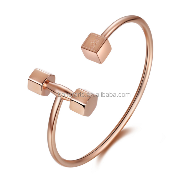 Stainless Steel Unisex Rose Gold/Gold Color Barbell Dumbbell Jewelry Punk Cuff Bracelets Trendy Women Men Fitness Dumbbell