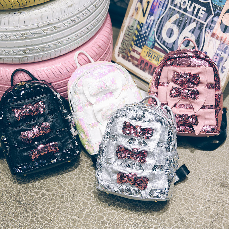 New Summer Kids Woman Girl Cute Student Sequin Bows Princess Backpacks