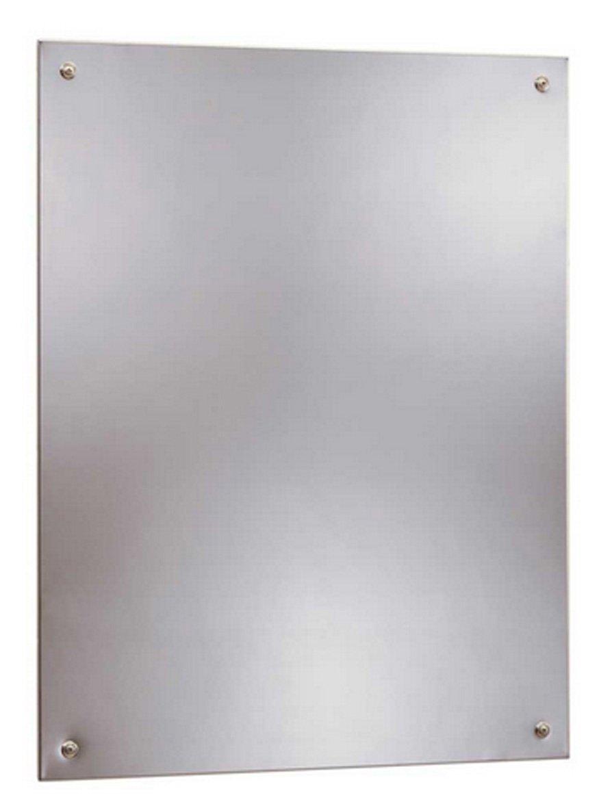 "Bobrick 1556 Series 430 Stainless Steel Frameless Mirror, Bright Finish, 17-1/2"" Width x 29-1/2"" Height"