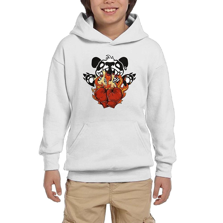 Hoodies HX7 Boxing Panda Cartoon Youth Sweatshirt Hoodie Athletic Sweatshirt With Pocket