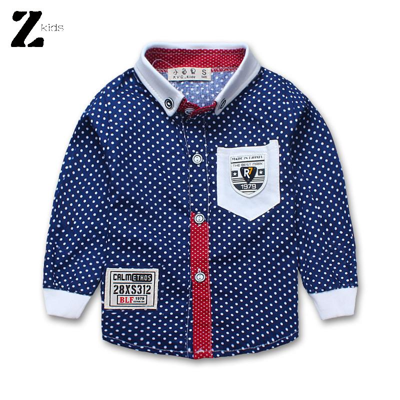 New Fashion Spring Autumn Fall Brand Boys Shirts 2015 Long Sleeve Cotton Polka Dot Childrens Clothing School Shirts With Collar