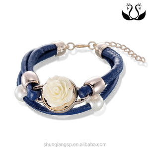 Europe and the United States popular leather multi ring female fashion environmental alloy Pearl Bracelet