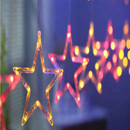 Star Festival LED Spring Festival wedding curtain lights Christmas lights string new year five-pointed star neon decoration