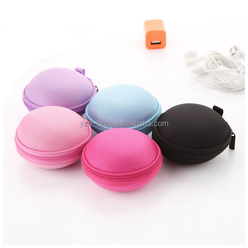 Hard EVA Carrying Case Round Earphone Storage Bag with Climbing Hook for Earbud USB Cable MP3
