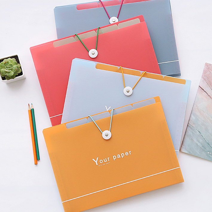 Small fresh student stationery  folder A4 5 pocket expanding file