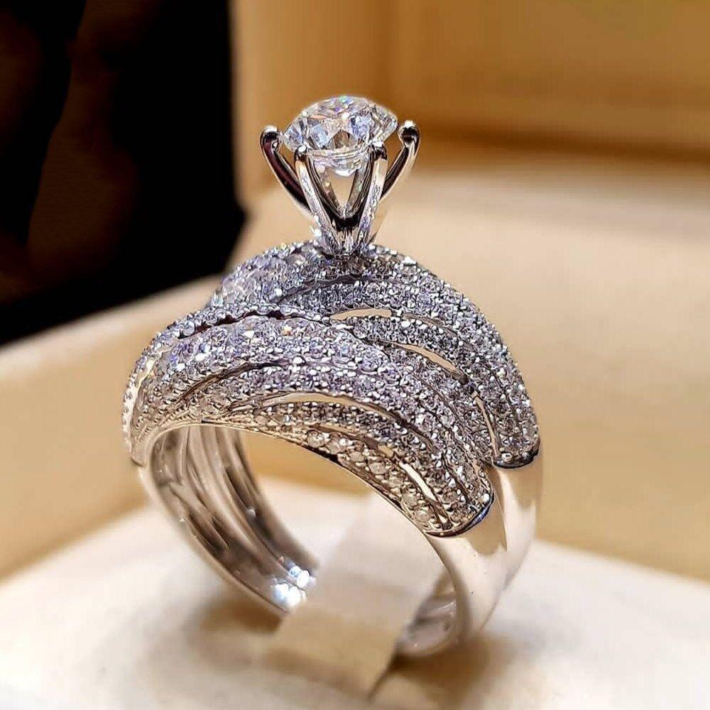 Vintage Wedding Jewelry Bridal Princess Zircon Ring Sets Plated Engagement