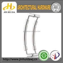 JHD-909 silver moon shape frameless glass door handles and knobs