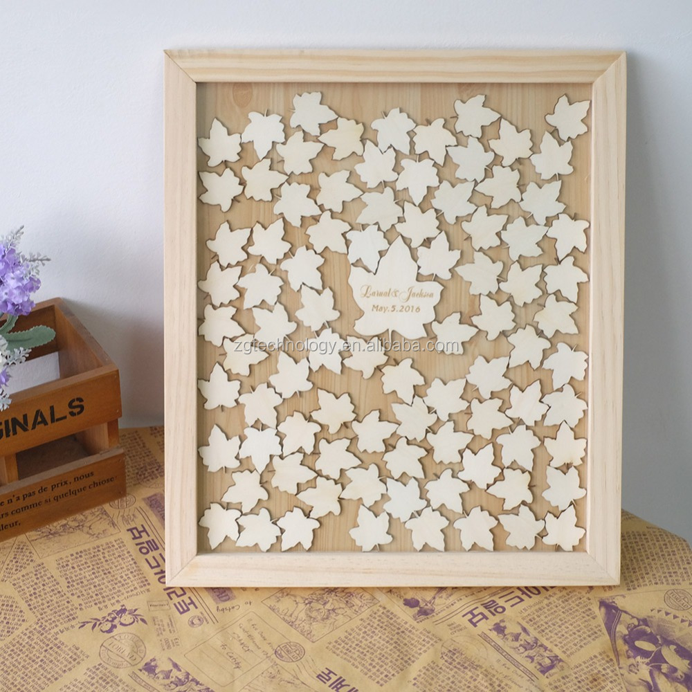 Unique Customize Wedding Guest book,Personalized Wedding Guest Frame, Rustic Wedding Drop box Framed Guestbook with Leaf pattern