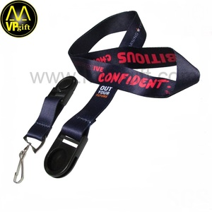 Cheap custom black detachable lanyard with metal buckle