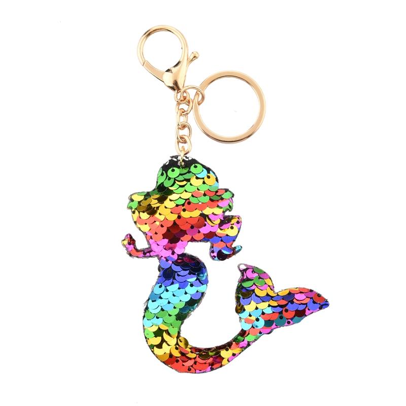 Gepersonaliseerde Mermaid Zintuiglijke Sleutelhanger Met Sequin Materiaal