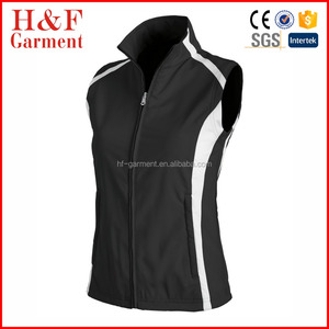Custom stand collar womens sleeveless vest softshell winter vest in black