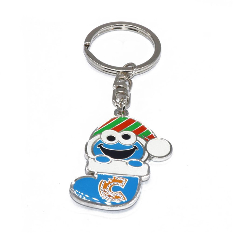 Customize logo smile face snowman sock keychain for christmas gift
