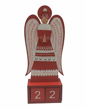 Wooden christmas 24 calendar angel style on table decoration