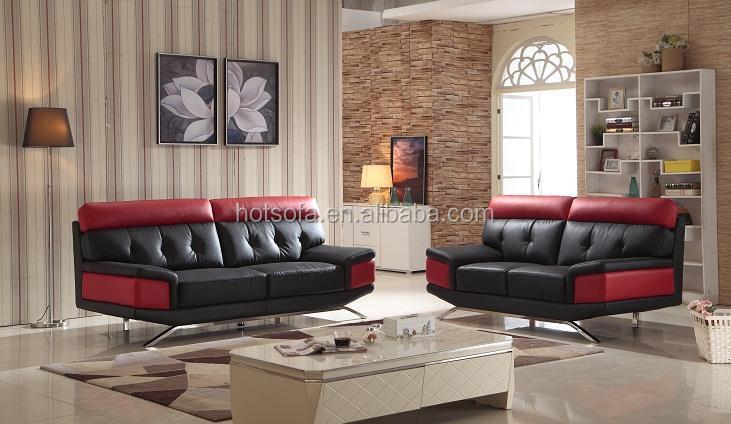 Woonkamer Zwarte Bank : Nieuwe moderne 3 2 1 zwart en rood lederen sofa ontwerp voor