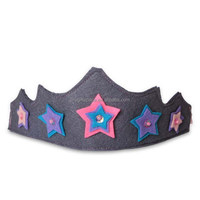 2018 new hot sale eco handmade wholesale cheap custom fabric star craft party supply kids decoration felt decorative crown