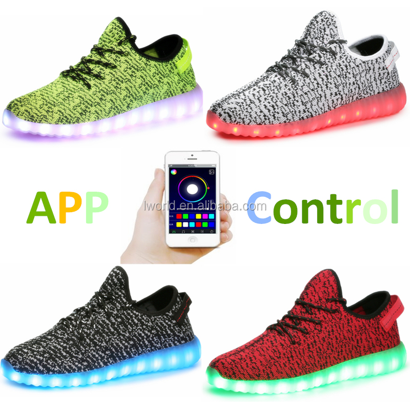 App bluetooth control led shoes breathable design shoes led changing with music colorful led shoes kids
