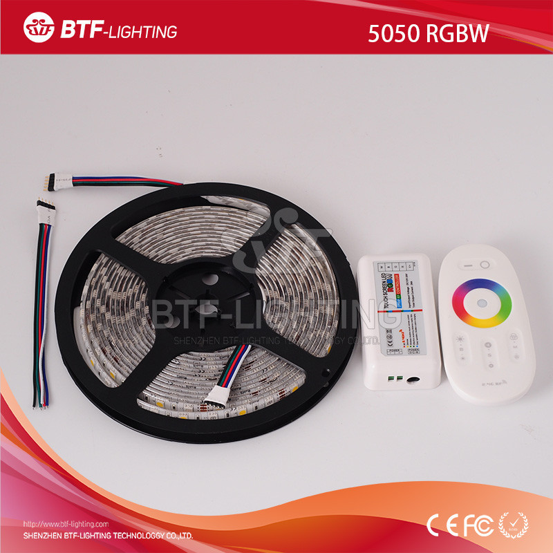 5m 5050 RGBW White PCB led strip 60leds/m <strong>RGB</strong>+Warm White Waterproof IP65 DC12V with 2.4G touch screen RF remote