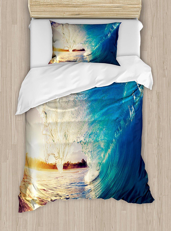Ambesonne Ocean Duvet Cover Set Twin Size, Sunrise on Waves Surfer Perspective Surreal Coastal Charm Sports Lifestyle Scene, Decorative 2 Piece Bedding Set with 1 Pillow Sham, Blue Pale Mauve