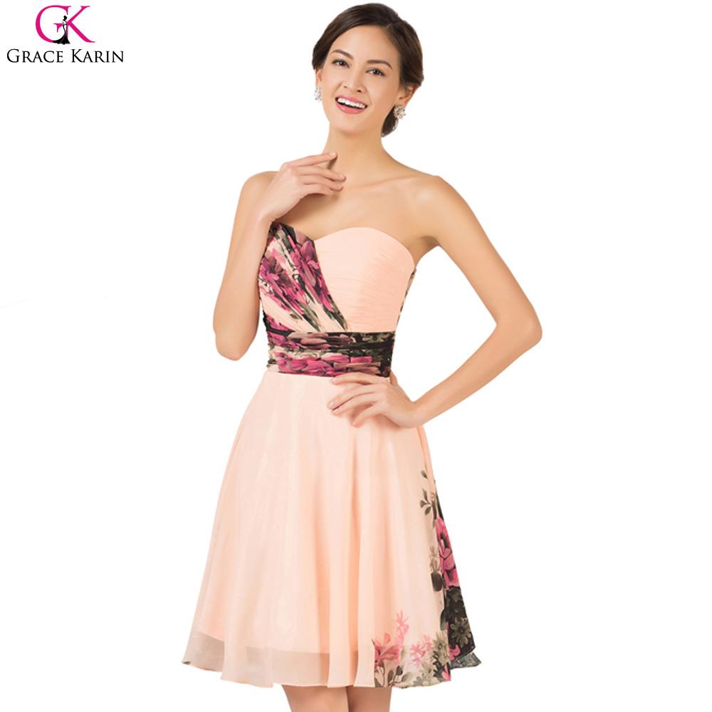 short cocktail dresses 2016 grace karin floral printed pattern empire robe de soiree courte. Black Bedroom Furniture Sets. Home Design Ideas