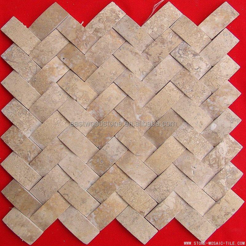 china fabrica amarillo beige travertino mosaico azulejo precio