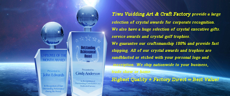 Diamond-Cut Crystal Glass Awards Trophy For Custom Engraving