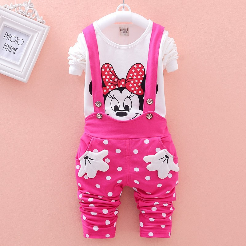 New 2015 Autumn baby girls clothing sets Minnie Mouse Toddler girl clothing Long sleeve t shirt