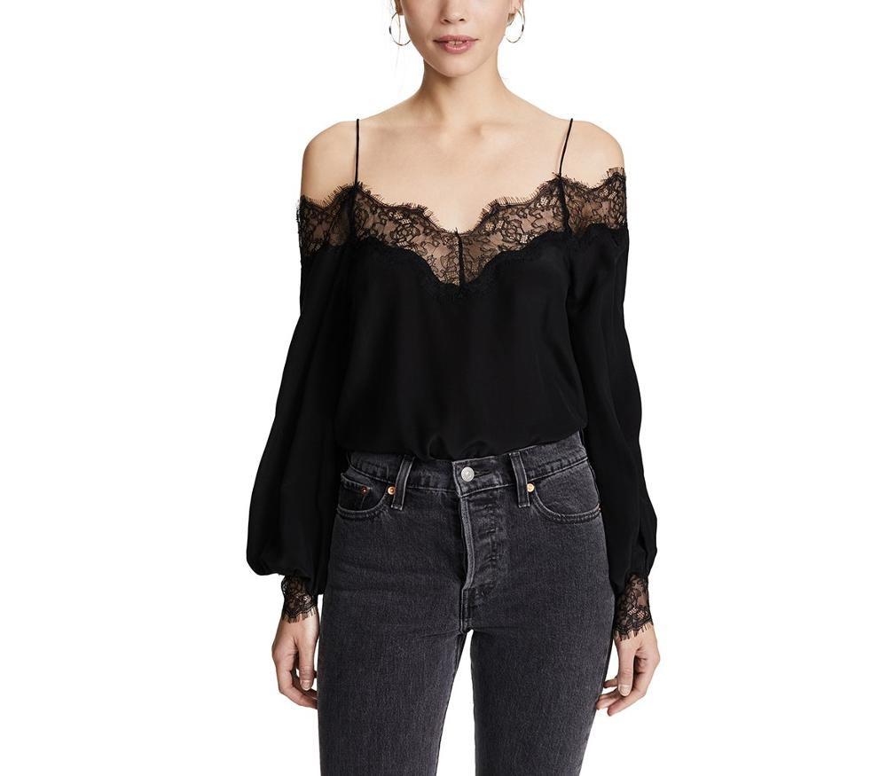 Sexy Black <strong>Lace</strong> Spaghetti Strap Off Shoulder V Neck <strong>Blouse</strong> Backless Long Sleeve Women <strong>Blouse</strong> Tops
