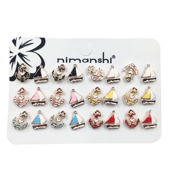 2e352e8dc Newest 12 Pairs Assorted Enamel Kids Stud Earring Set Small Cute Summer  Earring Children Brinco