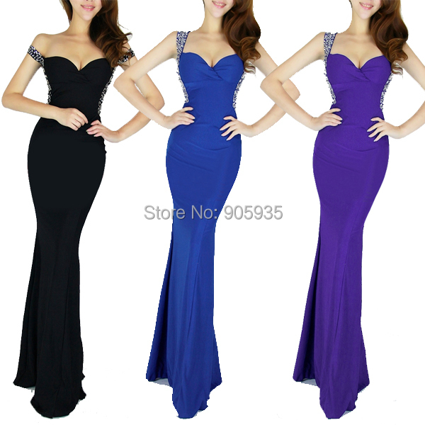 Get Quotations · Free Shipping Designer Shining Backless Black Blue Long  Evening Dress Dancewear Sexy Prom Dresses Wome Bandage a44acb1170c7