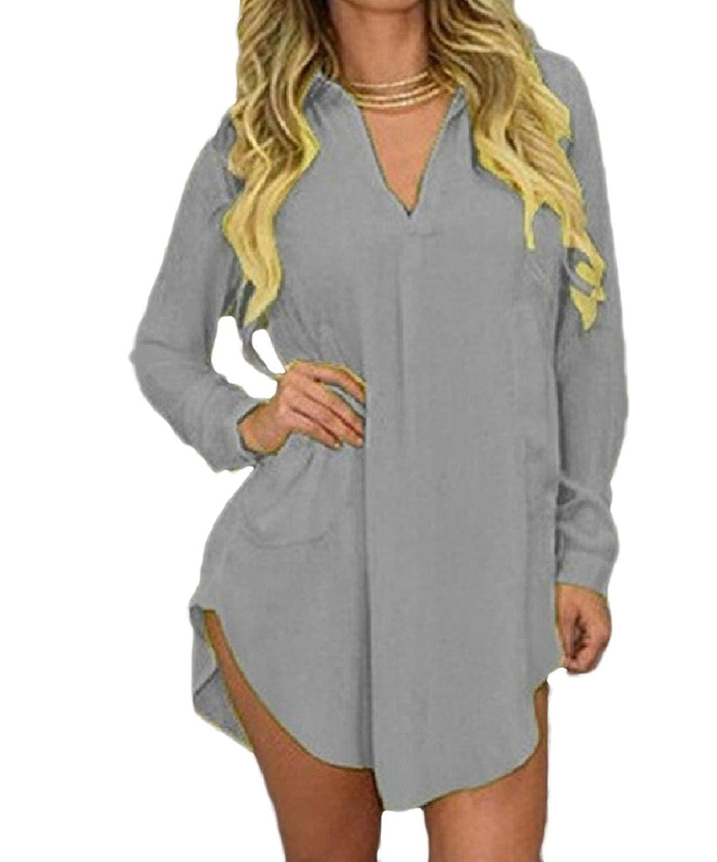 Zimaes-Women Plus-Size Chiffon V Neck Loose Long Sleeve Blouse Mini Dress