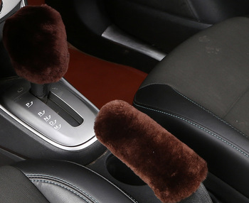 FX-M-89 Genuine soft Sheepskin Wool adjustable Non slip car Gear Knob Cover Handbrake Cover Protector