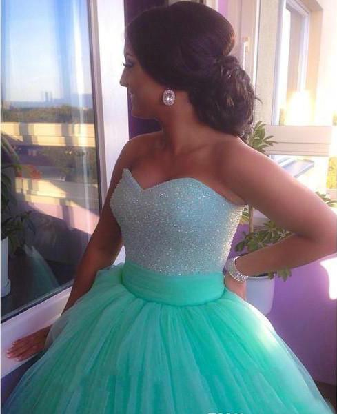 997269db24 2019 Tulle Sweetheart vestido longo de 15 anos Mint Green Quinceanera  Dresses Sequins Beaded Bodice Corset 15 years dress