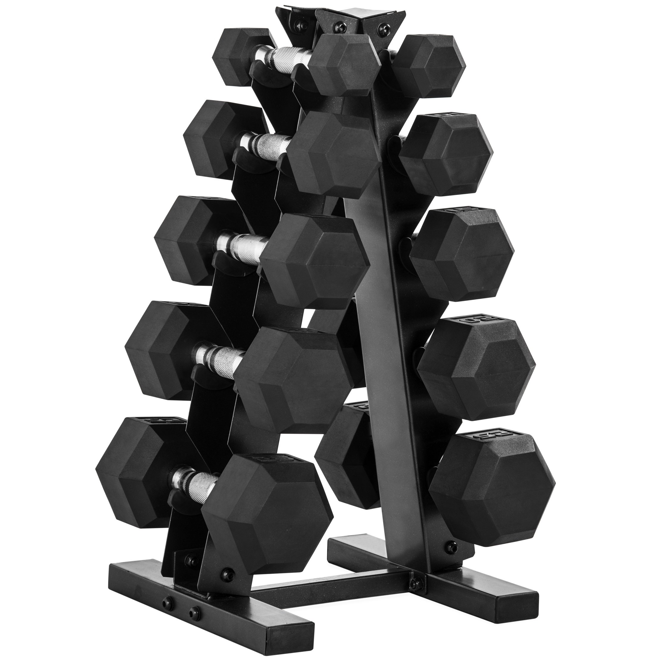 CAP 150-Pound Rubber Hex Dumbbell Weight Set, 5-25 Lbs with Rack