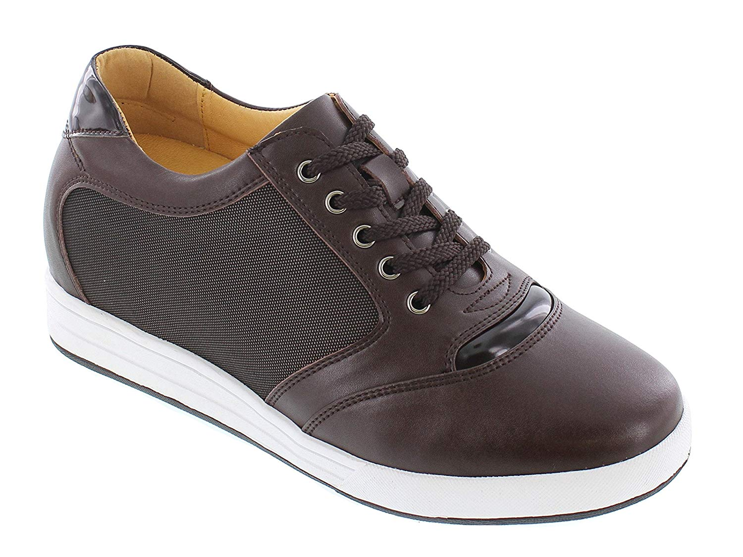 Toto TOTO-A53271-3.2 Inches Taller-Height Increasing Elevator Shoes (Brown Leather Lace up Campus Shoes)