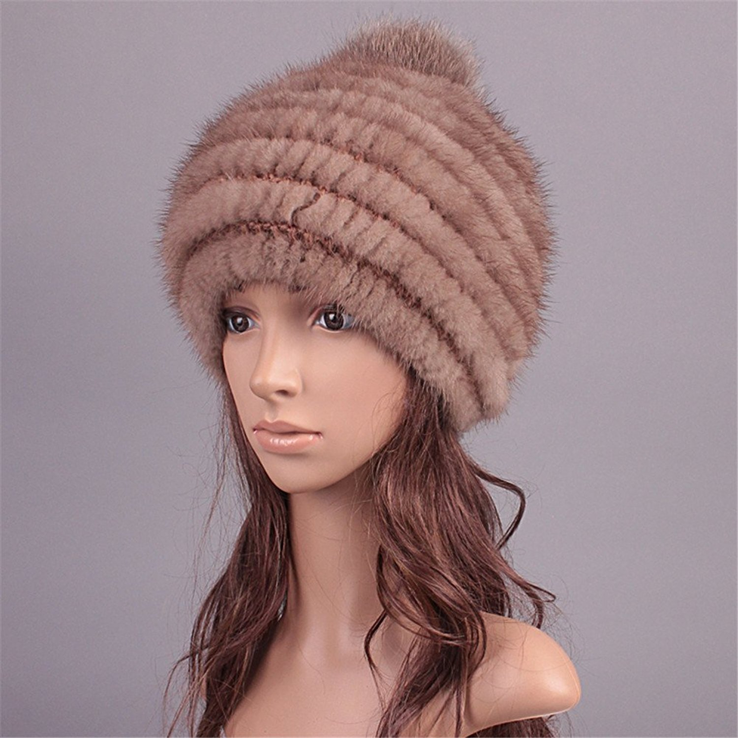 2f60c566a70 Buy Roniky Womens Girls Cute Real Mink Fur Knitted Hat with Fur Pom ...