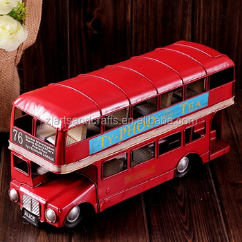 Arts and craft red double-decker bus model for cafe bar decoration